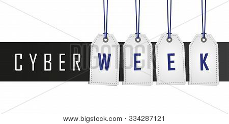 Cyber Week Promotion Hanging Label Vector Illustration Eps10