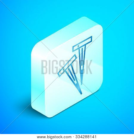 Isometric Line Pegs For Tents Icon Isolated On Blue Background. Extreme Sport. Sport Equipment. Silv
