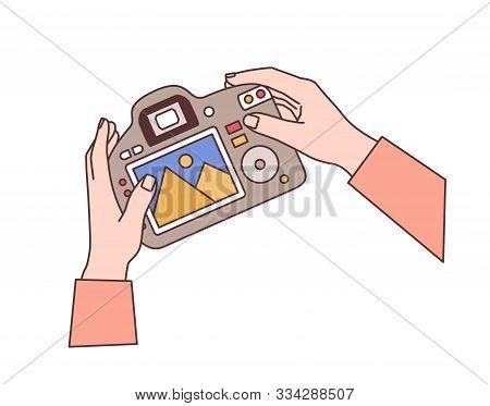 Hands Holding Digital Camera Flat Vector Illustration. Professional Photographic Equipment In Photog