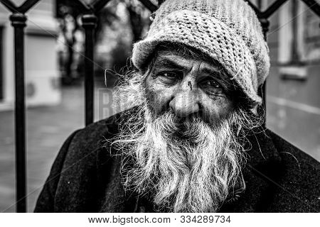 Homeless Man, Close Up Portrait Of Old Homeless Alcoholic Man Face With White Beard And Hair Wanderi