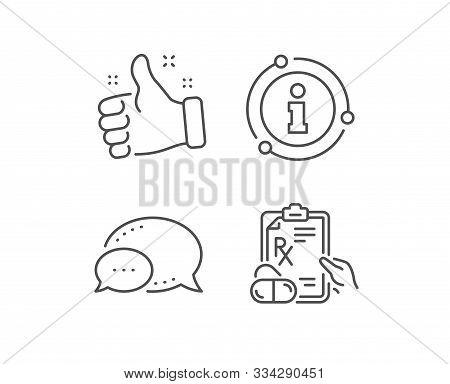 Prescription Rx Recipe Line Icon. Chat Bubble, Info Sign Elements. Medicine Drugs Pills Sign. Linear