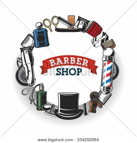 Barber Shop Salon Vector Banner, Hipster And Gentlemen Trend Hairdresser Sign. Barber Shop Equipment