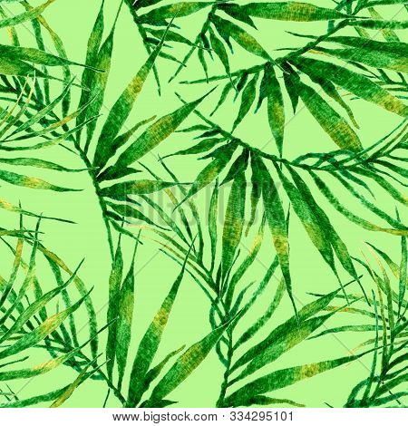 Tropical Seamless Pattern. Watercolor Chaotic Palm Leaves, Japanese Bamboo. Green Exotic Swimwear De