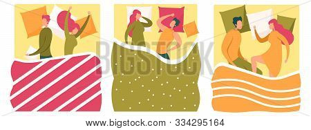 Young Man And Woman Couple Sleeping In Bed Set. Male And Female Characters Lying Asleep Under Blanke