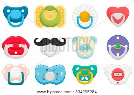 Illustration On Theme Big Colored Set Baby Pacifiers, Dummy With Rubber Nipple. Baby Pacifiers Consi