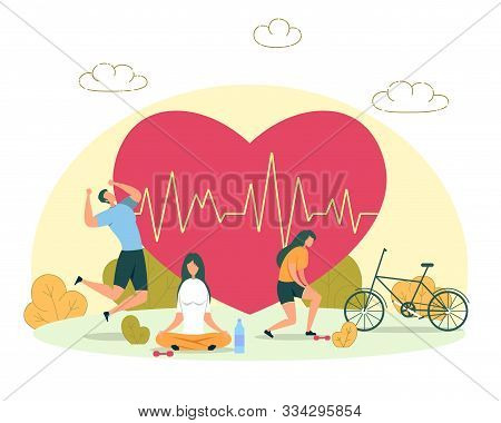 Outdoor Activity For Heart Health, Healthy Lifestyle And Fitness Training Flat Vector Concept. Activ