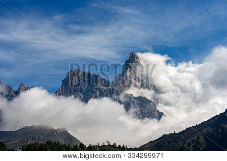 Pale Di San Martino With The Peak Called Cimon Della Pala (3186 M), Dolomites In The Italian Alps, U