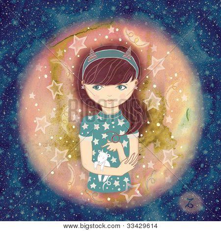 Zodiac sign-Capricorn. cute girl holding a Capricorn. Raster illustration poster