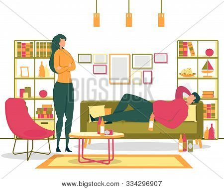 Alcohol Addiction, Unhealthy Lifestyle And Laziness, Depression Because Or Unemployment Flat Vector