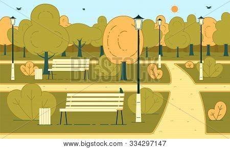 Autumn Season Sunny Day In City Park Or Square Flat Vector Background With Flying Birds, Pathways, G