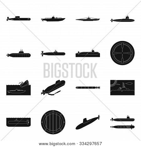 Vector Design Of Technology And Fleet Logo. Set Of Technology And Navy Stock Symbol For Web.
