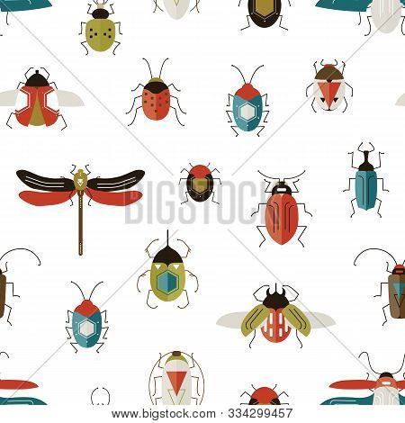 Bugs Colorful Vector Seamless Pattern. Beetles, Dragonfly, Ladybugs Decorative Backdrop. Ladybirds A