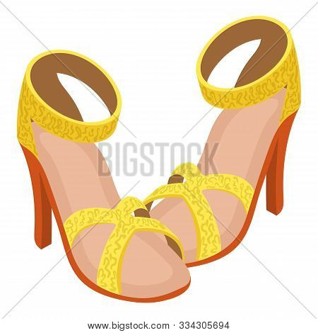 Opentoe Sandals Icon. Isometric Illustration Of Opentoe Sandals Vector Icon For Web