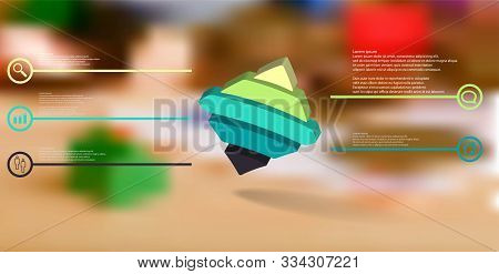 3d Illustration Infographic Template. The Embossed Bent Rhomb Is Horizontally Divided To Five Color