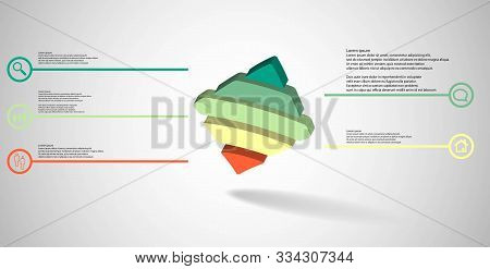 3D Illustration Infographic Template With Embossed Bent Rhomb Horizontally Divided To Five Parts Ask