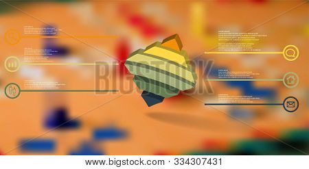 3d Illustration Infographic Template. The Embossed Bent Rhomb Is Horizontally Divided To Six Color P