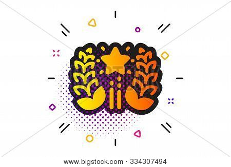 Laurel Wreath Star Star Sign. Halftone Circles Pattern. Ranking Icon. Best Rank Symbol. Classic Flat