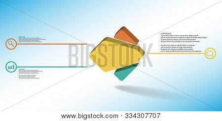 3D Illustration Infographic Template With Embossed Rhomb Randomly Divided To Three Parts