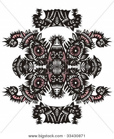 Vertical Decorative Pattern With Flowers And Fish