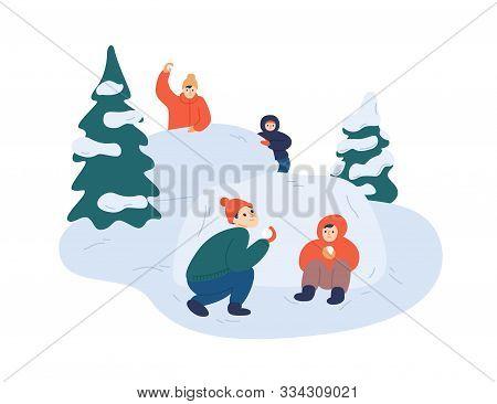 Children Playing Snowballs Vector Illustration. Cheerful Friends Enjoying Snowball Fight. Cartoon Bo