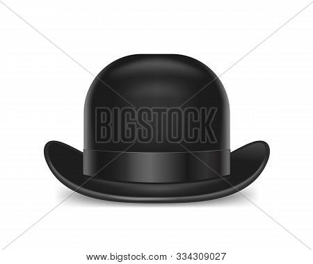 Realistic Detailed 3d Black Bowler Hat Isolated On A White Background Symbol Of Gentleman. Vector Il