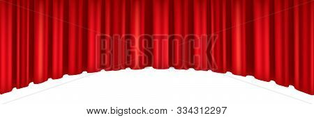 Red Curtains Of Theater Stage. Template For Theatrical Performance, Movie House Or Presentation. Det
