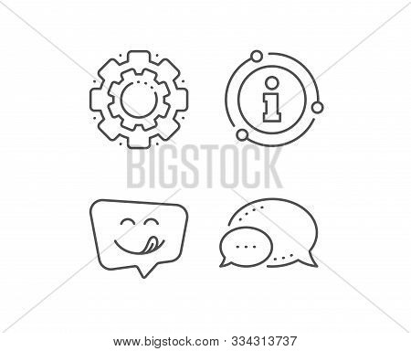 Yummy Smile Line Icon. Chat Bubble, Info Sign Elements. Emoticon With Tongue Sign. Speech Bubble Sym