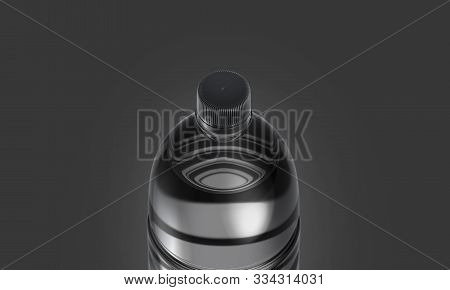 Blank Transparent Plastic Bottle With Black Cap Mockup, Dark Background, 3d Rendering. Empty Aerated