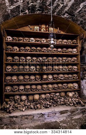 Rows Of Human Skulls On Shelves - Varlaam Monastery, Meteora, Thessaly, Greece