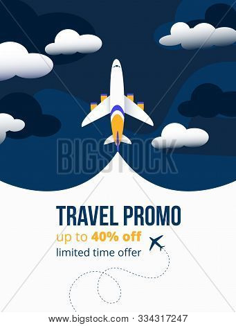 Travel Promo Up To Forty Percents Discounting Flyer Vector Illustration. Add Banner Showing Limited
