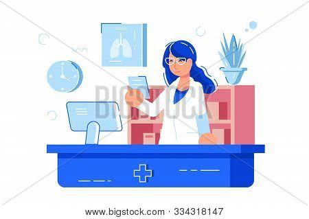 Woman Pharmacist Reading Recipe Illustration. Girl Druggist