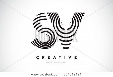 Sv Lines Warp Logo Design.vector Letter Icon Made With Circular Lines.