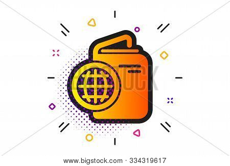 Trip Id Document Cover Sign. Halftone Circles Pattern. Travel Passport Icon. Abroad Holidays Symbol.