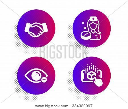 Nurse, Handshake And Myopia Icons Simple Set. Halftone Dots Button. Augmented Reality Sign. Medicine