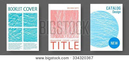 Catalog Cover Vector Templates. Blue, Teal And Coral Color Waves Texture. Buzzing Flux Ripple Moveme