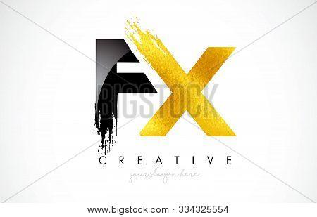 Fx Letter Design With Brush Stroke And Modern 3d Look Vector Illustration.