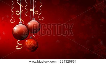 Christmas Balls. Christmas Background. Merry Christmas Banner. Three Red Christmas Ornament Balls On