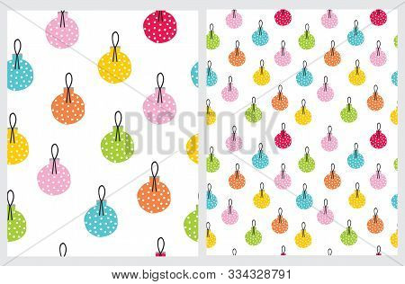 Colorful Christmas Bauble Seamless Vector Patterns. Christmas Tree Decoration Print. Red, Orange, Ye