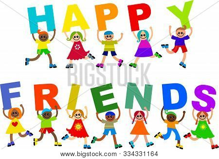 Cute And Diverse Group Of Happy Boys And Girls Holding Text.