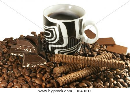 coffee beans cup and bars of chocolate over white poster