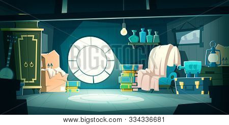 House Attic With Old Furniture At Night, Cartoon Vector Background. Attic Interior In Wooden House W