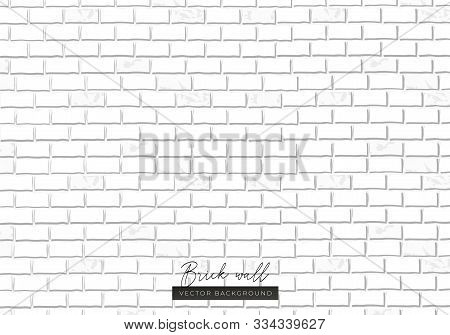 White Brick Wall Endless Texture Background Vector Illustration. Repeatable Minimal Whitey Painted B