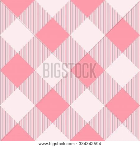 Tartan Seamless Pink Pattern Background, Vector Illustration