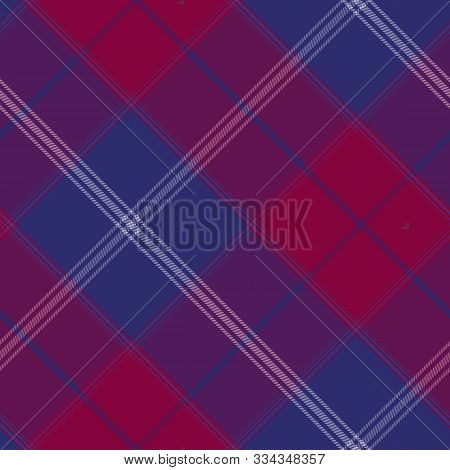 Tartan Seamless Purple Pattern Background, Vector Illustration