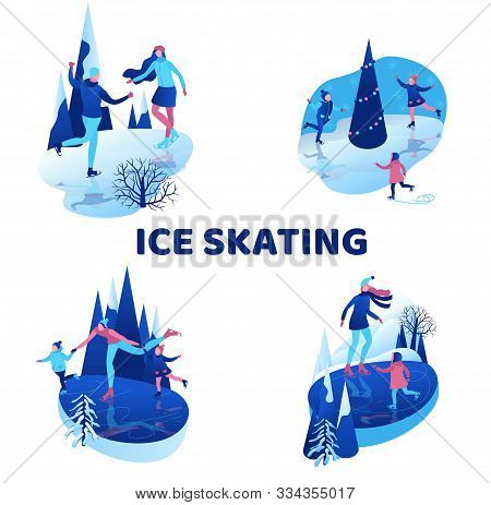 Ice Skating Isometric People Illustration Set, 3d Vector Winter Sport Family, Christmas Tree Decorat