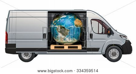 Commercial Delivery Van With Earth Globe. Worldwide Delivery And Freight Transportation Concept, 3d