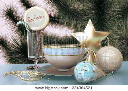 3d Illustration Of Merry Christmas Card With Christmas Tree Toys Tea Cup Candy Ice Cream Close Up St