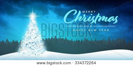 Christmas Time. Merry Christmas And Happy New Year Concept. Elegant Christmas Tree Decoration.
