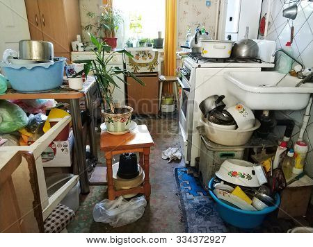 Mess And Dump. An Old Room With Lots Of Things. Devastation. Very Small Housing