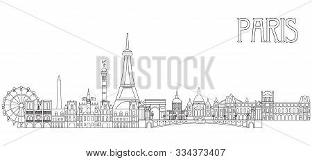 Panoramic Line Art Style Paris City Skyline Vector Illustration In Black Color Isolated On White Bac